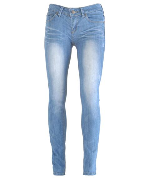New Women Light Blue Wash Faded Distressed Skinny Slim Fit Denim Jeans UK 6-14