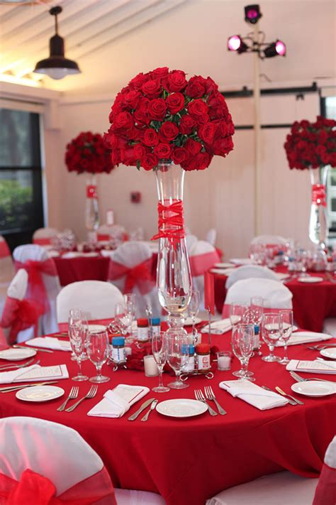 Gorgeous Tall Red Rose Centerpiece Inspiration B Lovely