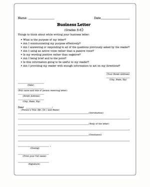 business letters  english worksheet  kids