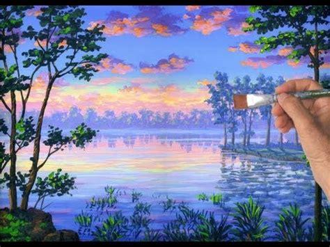 comment peindre a l acrylique sur toile comment peindre un lac avec la peinture acrylique sur toile de lartistshow