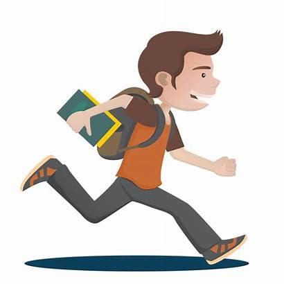 Clipart Student Clip Running Boy Run Cartoon