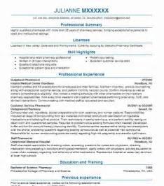 best pharmacist resume exle livecareer