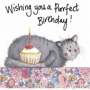 Cat Birthday Card | Grey Cat Cake & Candle | Alex Clark Art