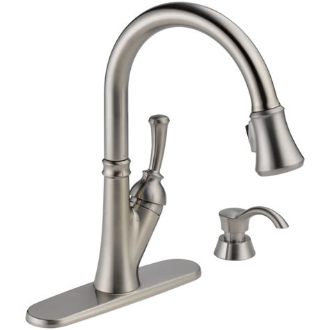 pull faucet kitchen shop delta savile stainless 1 handle pull kitchen