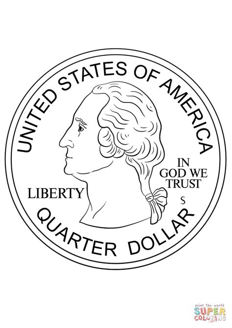 quarter coin coloring page  printable coloring pages