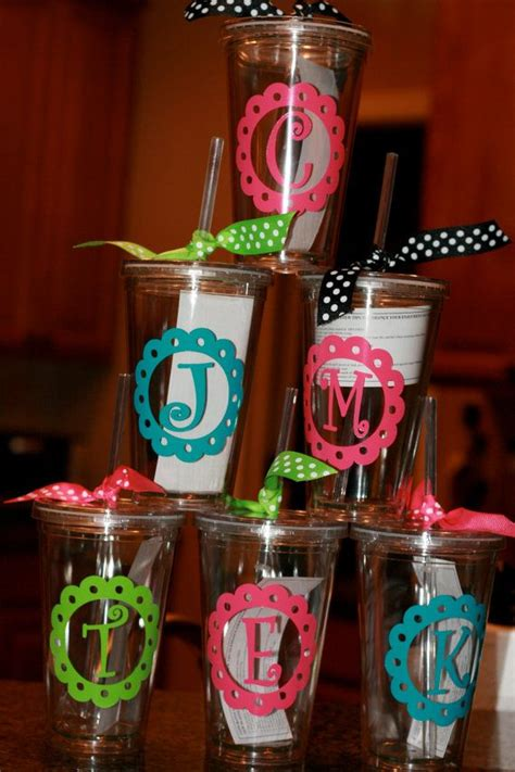 personalized acrylic cups  monogram  initial