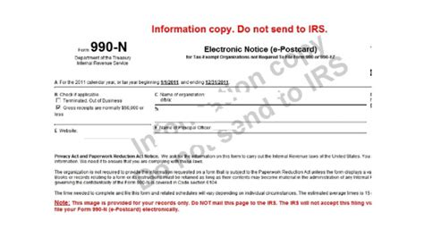 filing  irs form    small nonprofits