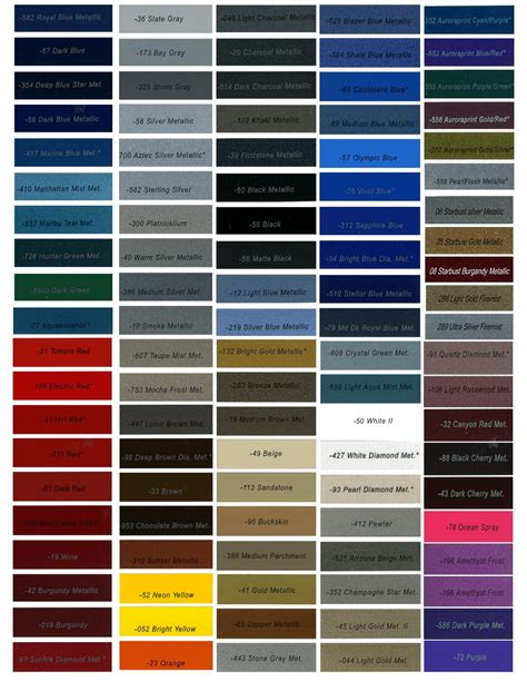 maaco paint colors chart metallic car paint color chart