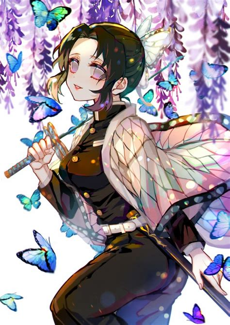 wallpaper kochou shinobu blue butterflies demon slayer