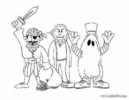 Halloween Coloring Pages Costumes Monster Vampire Scary