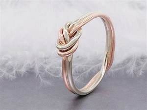 14k solid rose gold love knot ring double strand nautical With knot wedding ring