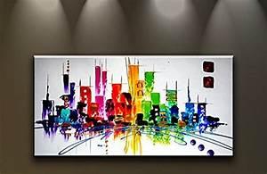 Toile Deco Salon : tableau peinture l 39 huile pas cher d co murale salon contemporain bonnes affaires 2015 ~ Teatrodelosmanantiales.com Idées de Décoration