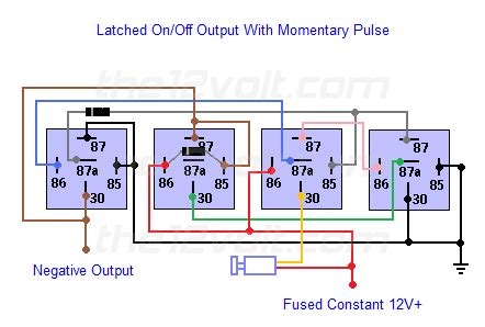 Neg Relay Switch Wiring Diagram by Latched On Output Using A Single Momentary Positive