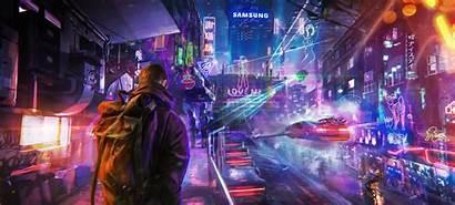 Cyberpunk Neon Futuristic Street Photoshop Night Artwork