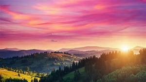 Red, Sky, Over, A, Green, Valley, Nature, Qhd, Wallpaper, -, Wallpaper