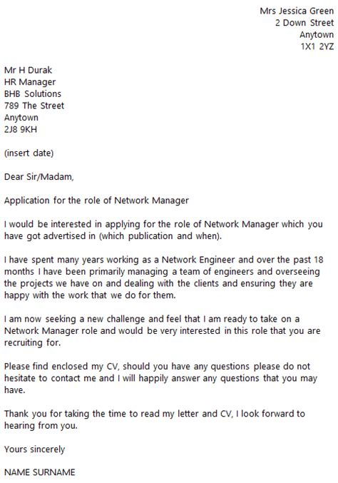 It Cover Letter Exles by Network Manager Cover Letter Learnist Org