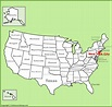 New York City location on the U.S. Map