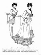 Coloring Pages Historical Edwardian Victorian Corset Epoque Fashions Belle Books Era Sheets Clothing Ladies Late Petticoat Adult Corsets Period Bb sketch template