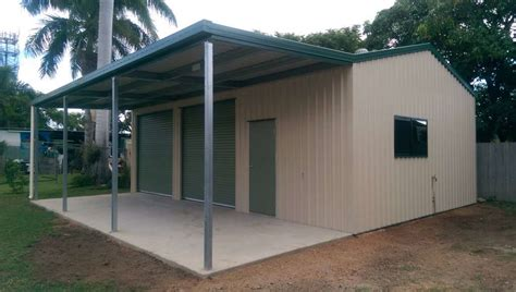 double roller door shed  awning  access door bryland sheds