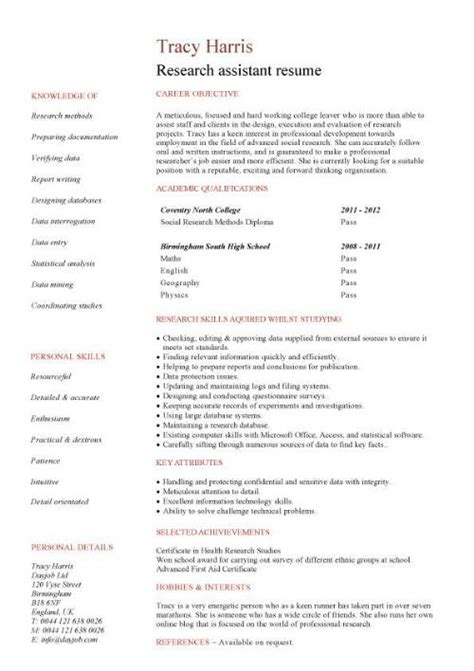 Exle Resume For Research Assistant by Student Entry Level Research Assistant Resume Template