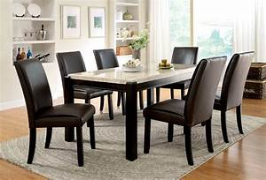 furniture, of, america, dark, walnut, lucius, marble, top, dining, table