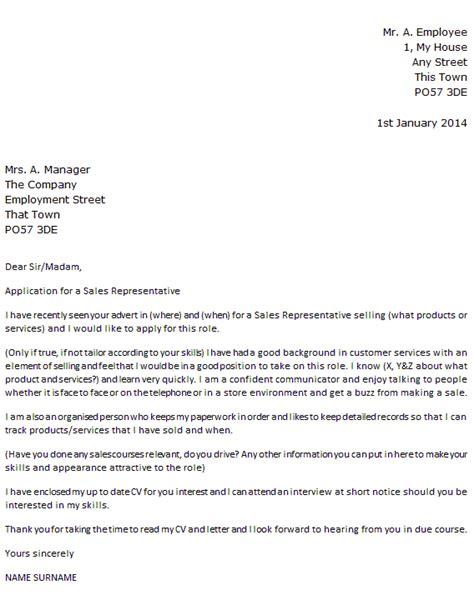 sales representative job application cover letter exle