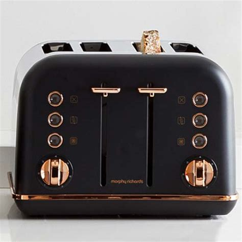 accents rose gold black pyramid kettle   slice toaster set