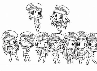 Chibi Coloring Kpop Pages Sketch Exo Snsd