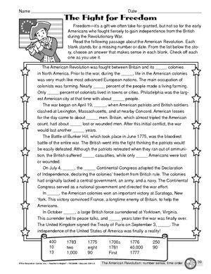 worksheet the american revolution revolutionary war