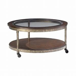 Structure round cocktail table in heavily distressed brown for Distressed white round coffee table