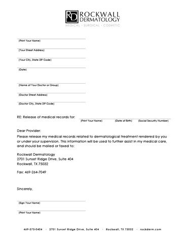 medical records release form templates  printable