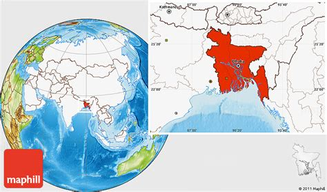 Physical Location Map Of Bangladesh, Highlighted Continent
