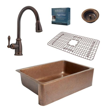 bronze kitchen sink faucets sinkology pfister all in one farmhouse copper 33 in