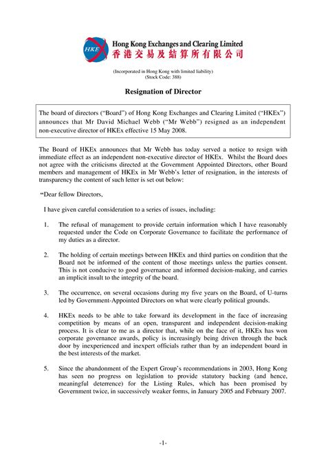 Hong Kong Board Of Directors Resignation Letter sample | Templates at allbusinesstemplates.com
