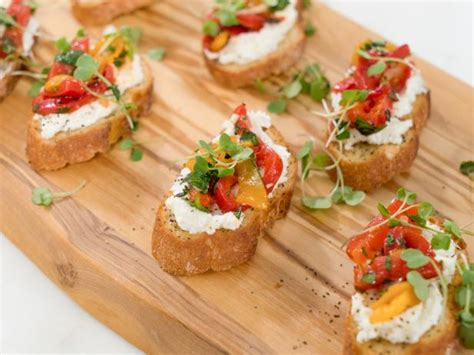 canape toppings roasted pepper and goat cheese bruschetta recipe ayesha