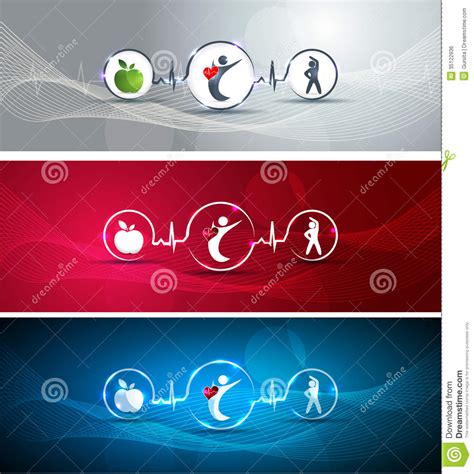 healthy human  heart banners royalty  stock image