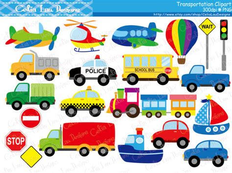 Transportation Clipart Car Taxi School Bus Police Car