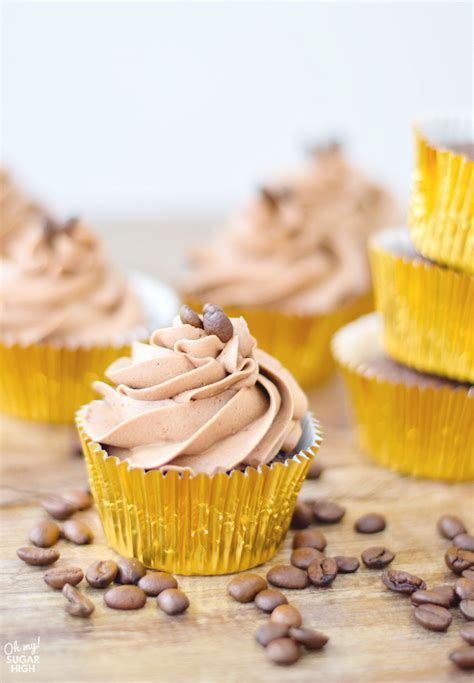 Delicious coffee cupcakes that are easy to make and packed full of coffee flavour. Chocolate Coffee Cupcakes with Mocha Frosting - Oh My! Sugar High