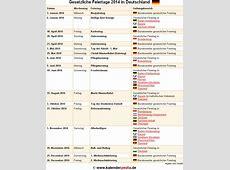 Feiertage 2014 in Deutschland mit druckbaren Vorlagen