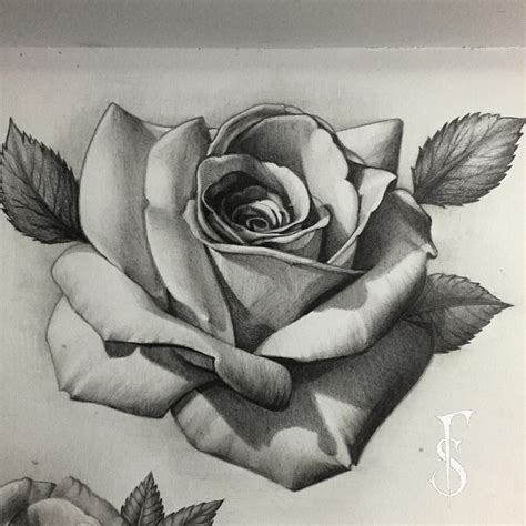 Realistic Rose Tattoo Drawings