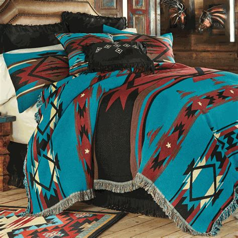 western bedding queen size turquoise flame tapestry