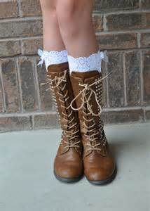 Faux Lace Socks Knee High Boots
