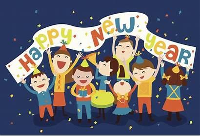 Celebration Eve Silvester Clipart Familie Years Kinder