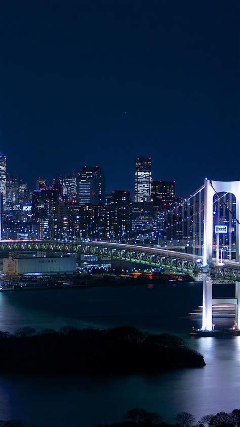 japan tokyo cityscapes city lights towers rainbow bridge
