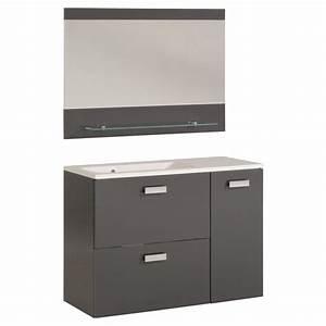 ensemble meuble vasque miroir 90cm quotdeluxequot gris With ensemble meuble salle de bain 90 cm