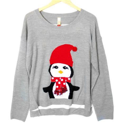 tacky sweater lightweight hi lo penguin tacky sweater