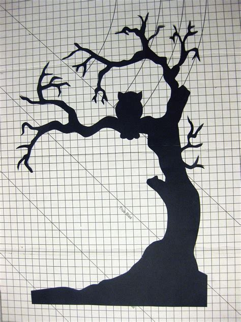 halloween tree window silhouette halloween trees