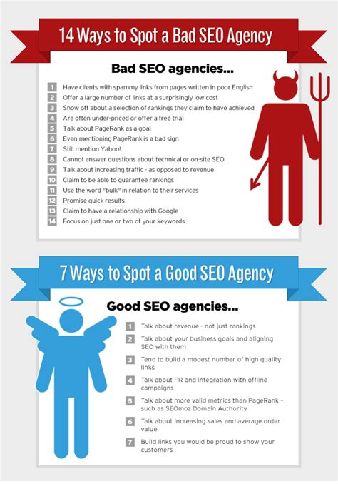 seo agency how to spot vs bad seo agencies infographic