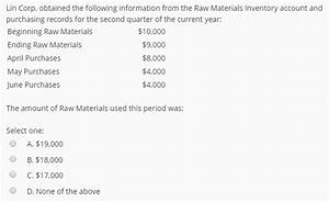 Solved: Lin Corp. Obtained The Following Information From ...