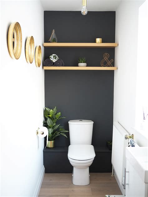 home downstairs bathroom dark grey makeover bang  style